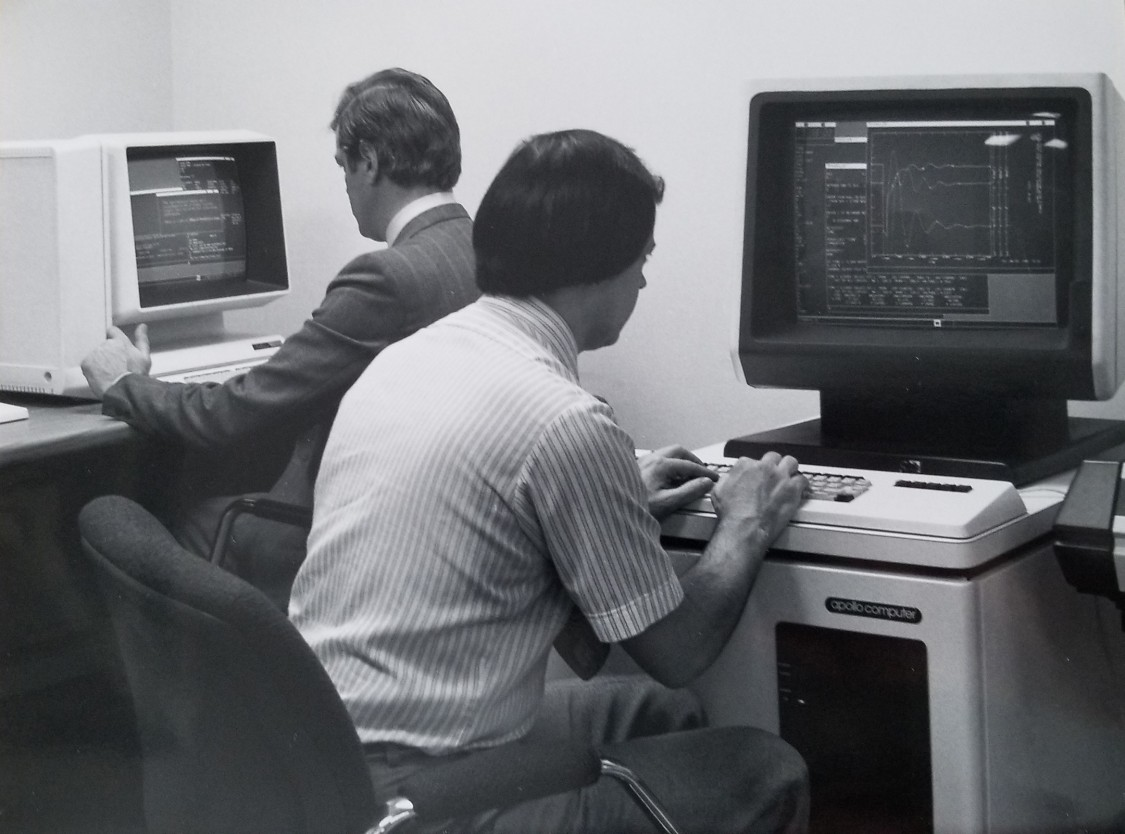 "Flashback: PTI engineers using the ""power system simulator for engineering"" (PSS®E) on an Apollo computer"