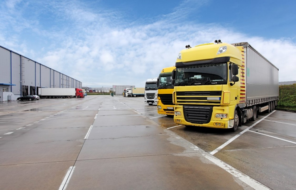 Lorries parked outside distribution centre