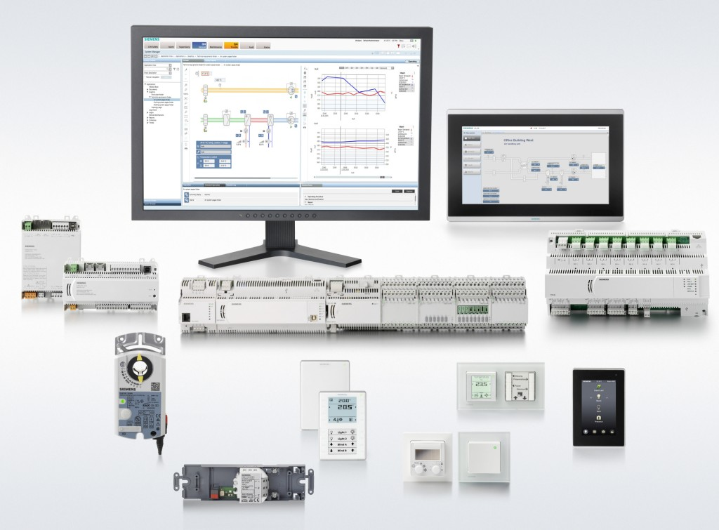 The picture shows numerous new components and functions of the modular Desigo CC building management platform.