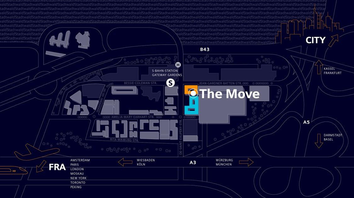 Karte von Gateway Gardens mit den hervorgehobenen Büros von The Move