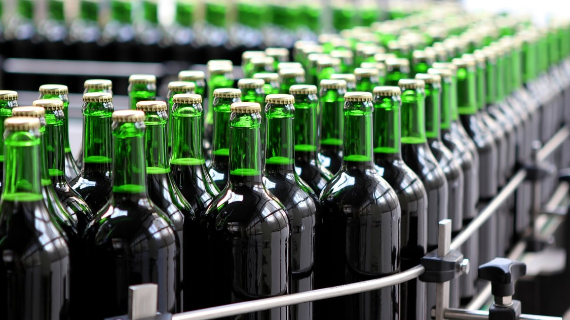 Bottles in a bottling plant