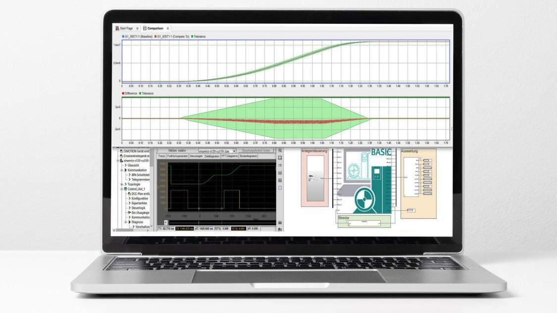 Software screenshot of SINAMICS DriveSim Basic showing validated representations of SINAMICS converters