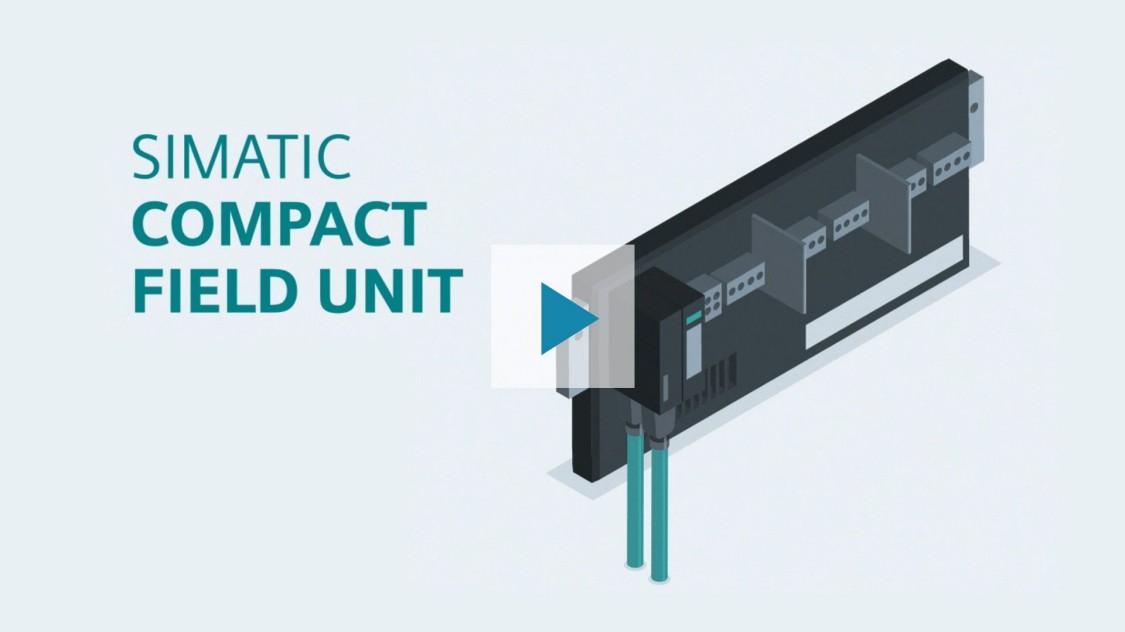 La imagen muestra el sistema de E/S SIMATIC CFU sobre un fondo gris. Dos cables PROFINET verdes se conectan a la Unidad de Campo Compacta, que puede utilizarse para integrar fácilmente los dispositivos de campo. Al hacer clic en el botón de reproducción se reproduce un vídeo que proporciona una introducción más detallada del producto.