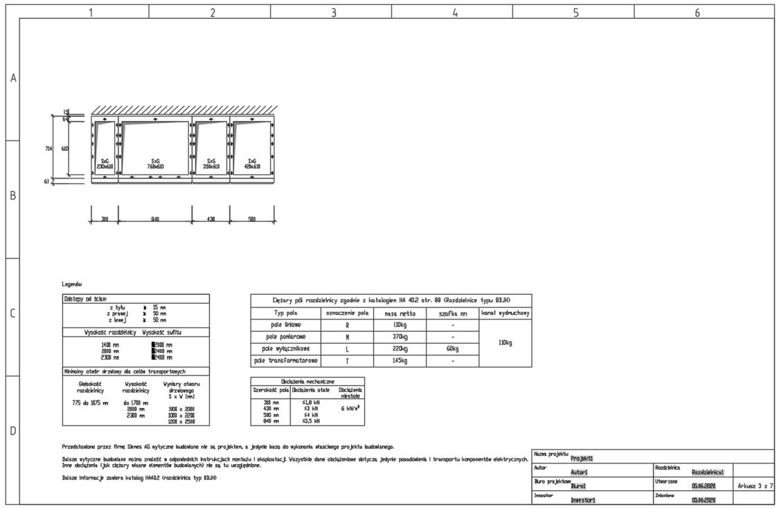 Arkusz z informacjami o posadowieniu rozdzielnicy 8DJH