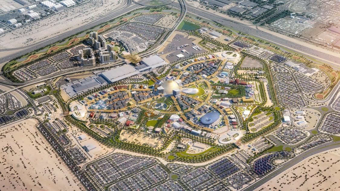 Bird's eye view on the Expo 2020 Dubai district