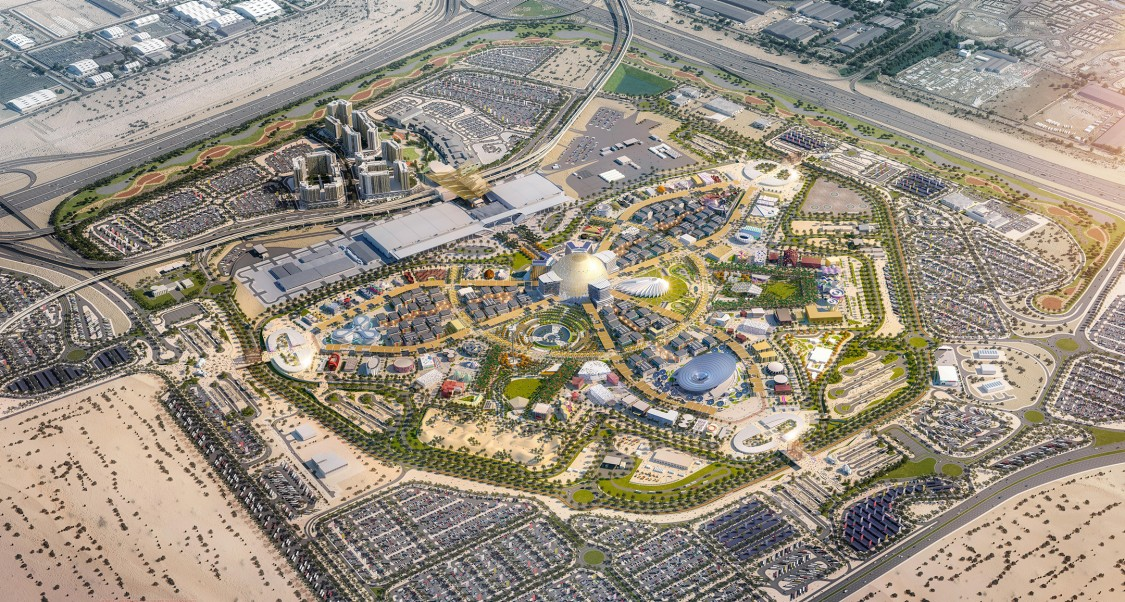 A visualization of the Expo 2020 site in Dubai.