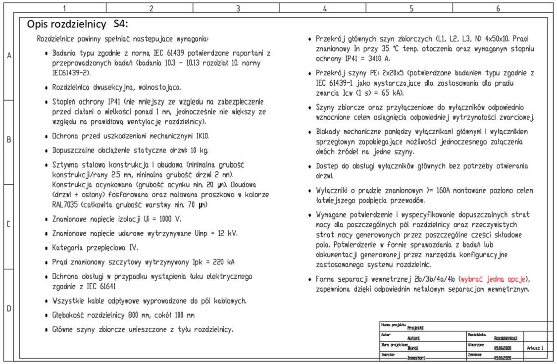 Arkusz z opisem rozdzielnicy SIVACON S4