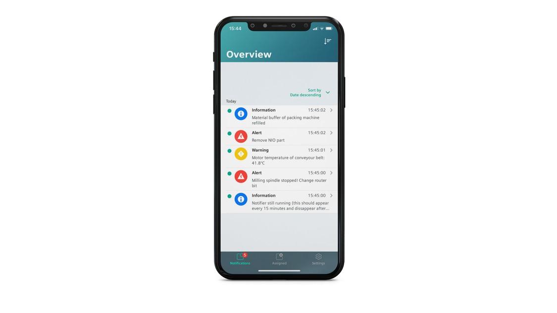 Beispiel einer Benutzeroberfläche der App Notifier auf einem Smartphone
