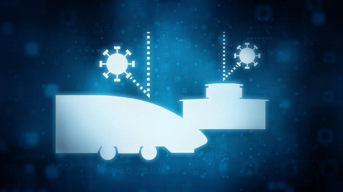 Ein blaues digitales Symbol zeigt, dass die Mobilitätsinfrastruktur angegriffen wird