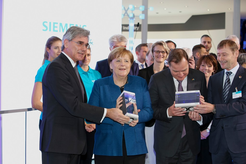 Hannover Messe 2019: German Chancellor Angela Merkel and Swedish Prime Minister Stefan Loefven visiting the Siemens booth
