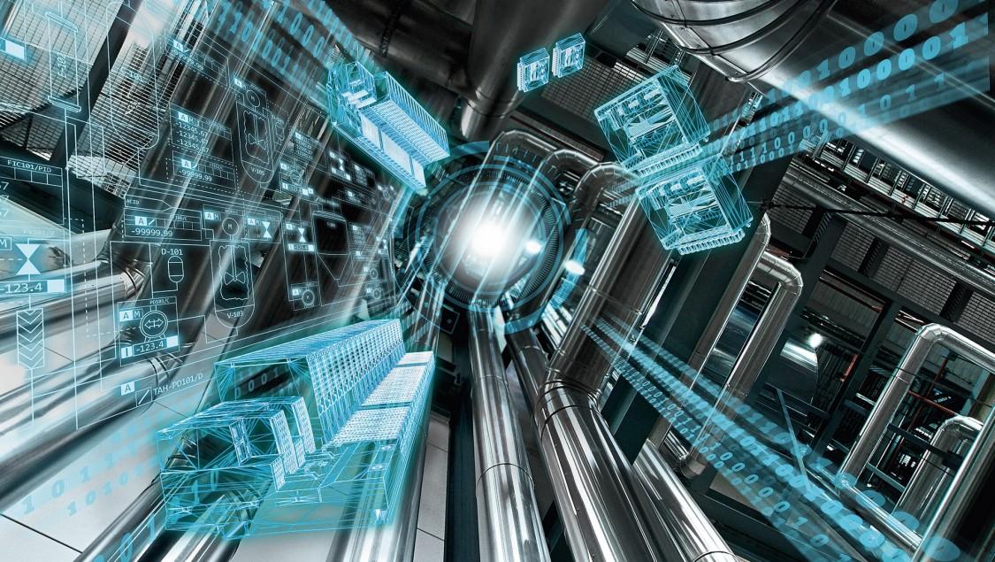 Verfahrenstechnische Anlage aus Rohrleitungen mit blauem Layer aus Prozessgrafiken und Bauteilen symbolisiert Raum für neue Perspektiven durch Prozessleitsystem SIMATIC PCS 7 V9.0.