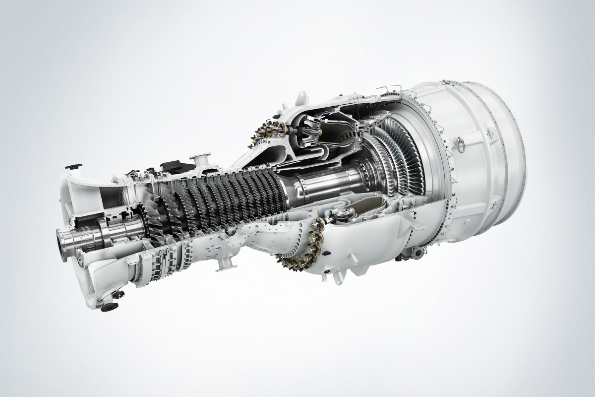 The picture shows the Siemens SGT-800 industrial gas turbine.